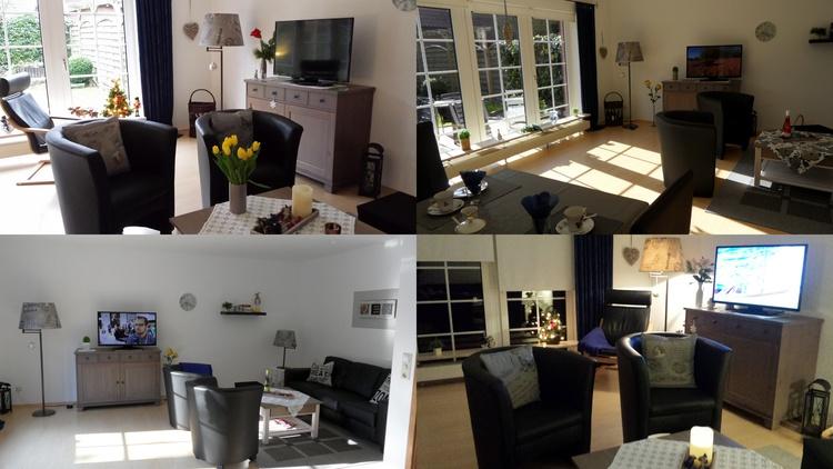 Wohnzimmer mit Flach-TV und .....