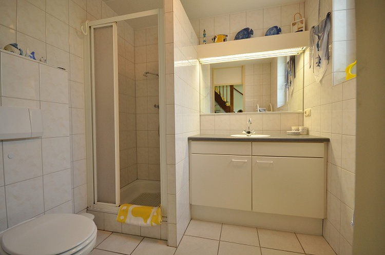 Bathroom with shower, sink and toilett.