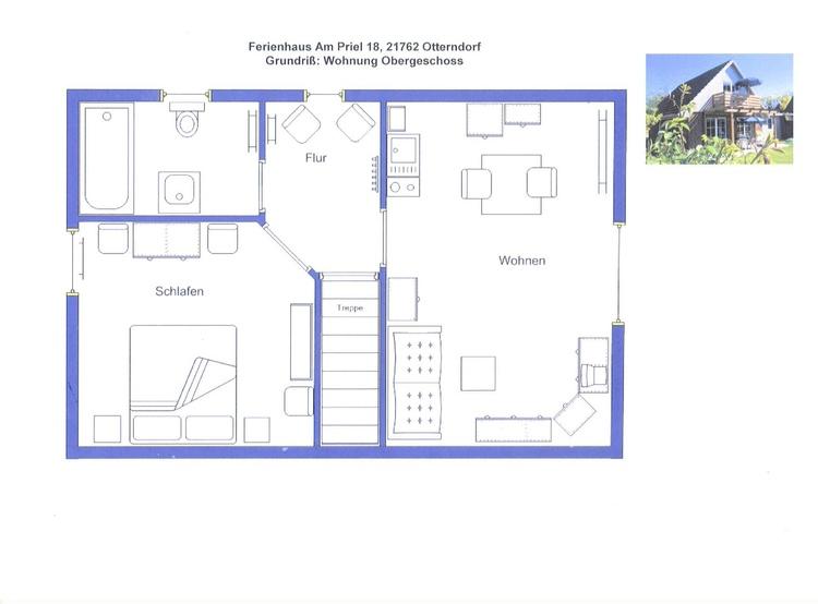 OG: Wohnzimmer mit eigenem SAT-TV und Küchenpantry, Schlafzimmer, Toilette/Badewanne, Südbalkon