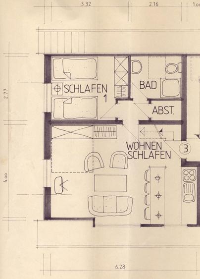 wohnzimmer whg. 1 im EG. mit Terrasse u. schlafsofa
