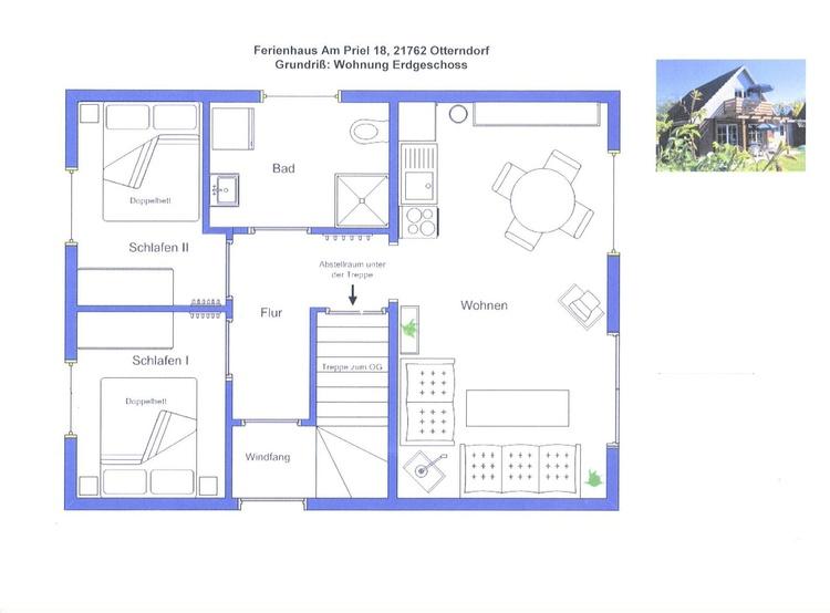 EG: Wohnzimmer mit Küchenzeile, zwei Schlafzimmer, Toilette/Dusche, Abstellraum, Flur, Terrasse
