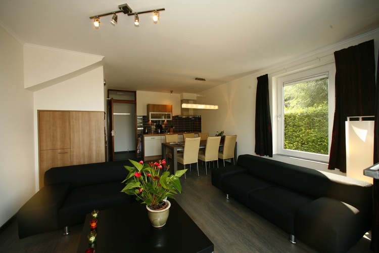 Wohnzimmer luxusappartment, mit Küchen,Spulmachine und Fernseh. Grosse Terrasse neben Wohnzimmer. 5P