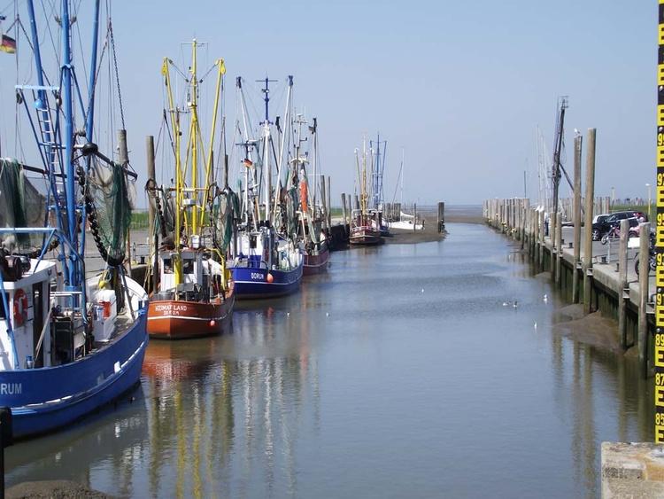 Blick auf den Jacht-/Kutterhafen am Strand in Dorum Neufeld