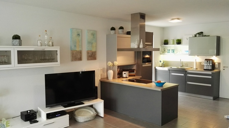 Offener moderner Wohnraum mit integrierter Küche