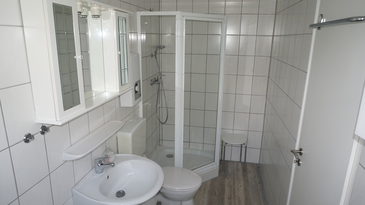 Das Bad ist ausgestattet mit einer Dusche,Waschbecken, WC.